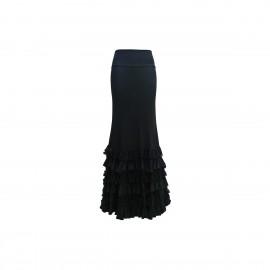 amay Flamenco Rock schwarz mit Volants aus Viskose und Spitze