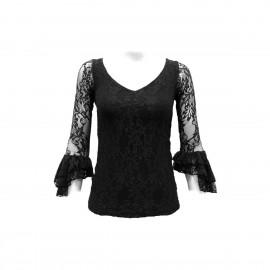 amay Flamenco Oberteil aus Spitze schwarz